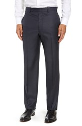 John W. Nordstrom Torino Traditional Fit Flat Front Solid Wool Trousers Navy
