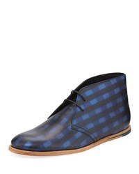 Opening Ceremony Plaid Leather Chukka Boot Classic Blue Multi Classic Blue Mutl