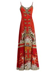 Camilla Hangzhou Hollywood Print Silk Wrap Dress Orange Print