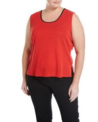 Ming Wang Scoop Neck Knit Tank Red