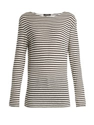 R 13 Cotton Jersey Striped Top Black White