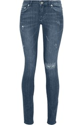 Blk Dnm 26 Distressed Low Rise Skinny Jeans Blue