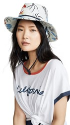 Brixton Louise Fedora Bucket Hat Off White Blue