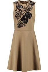 Etro Embroidered Embellished Pique Dress Brown