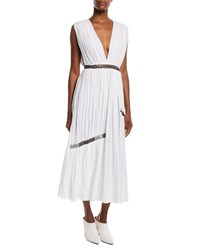 Gabriela Hearst Cristina V Neck Sleeveless Linen Ankle Length Dress W Chain Insets Ivory