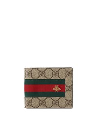 Gucci Web Gg Supreme Bi Fold Wallet With Bee Beige