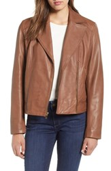 Cole Haan Drum Dyed Leather Moto Jacket Hickory