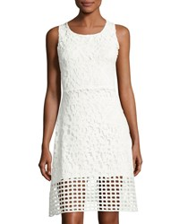 Neiman Marcus Lace Overlay Flare Dress White