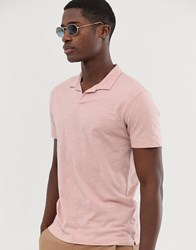 Selected Homme Revere Collar Polo Shirt In Pink Organic Cotton