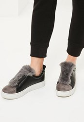 Missguided Grey Faux Fur Trim Trainers