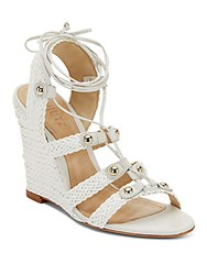 Schutz Jayne Woven Leather Lace Up Wedge Sandals Pearl