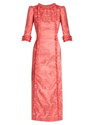 The Vampire's Wife Cate Ruffle Trimmed Cotton Blend Jacquard Dress Pink