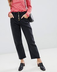 Neon Rose High Waist Mom Jeans With Button Front Black