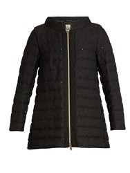 Herno Sequin Embellished Boucle Quilted Down Coat Black