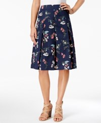 Charter Club Petite Floral Print A Line Skirt Only At Macy's Intrepid Blue Combo