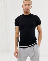 Bershka Knitted T Shirt In With Stripes In Black Black