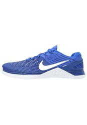 Nike Performance Metcon Xds Flyknit Sports Shoes Deep Royal Blue White Racer Blue Dark Blue