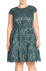 Plus Size Women's Eliza J Cap Sleeve Lace Fit And Flare Party Dress