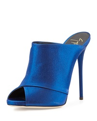 Open Toe High Heel Mule Electric Blue Giuseppe Zanotti