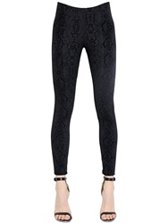 David Lerner Python Flocked Techno Jersey Leggings Black