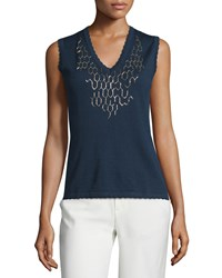 Carolina Herrera V Neck Embellished Tank Deep Navy