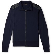 Belstaff Kelby Slim Fit Quilted Shell Trimmed Wool Zip Up Sweater Blue