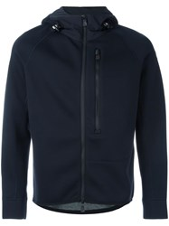 Moncler Grenoble Fitted Hooded Jacket Blue