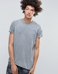 Kubban Denim Muscle Fit Dip Dye T Shirt Grey
