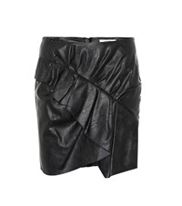 Etoile Isabel Marant Zeist Ruffled Faux Leather Skirt Black