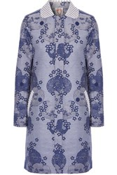Shrimps Daphne Embellished Cotton Blend Jacquard Coat Mid Denim