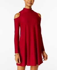 Planet Gold Juniors' Cold Shoulder Shift Dress Rubma Red