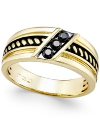 Macy's Men's Black Diamond Antique Look Three Stone Band 1 4 Ct. T.W. In Black Enamel And 10K Gold