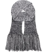 Pringle Cable Knit Wool Scarf Off White Grey Melange