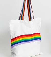 Monki Rainbow Placement Organic Cotton Tote Bag In Off White