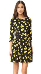 Suno 3 4 Sleeve Fit And Flare Dress Floral Black