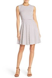 French Connection 'Bacongo' Dot Stretch Cotton Fit And Flare Dress White