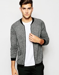 Asos Knitted Bomber In Merino Wool Mix Greytwist