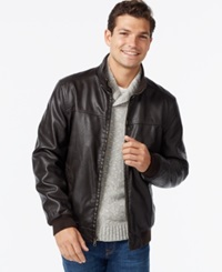 Tommy Hilfiger Faux Leather Bomber Jacket Dark Brown