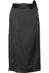 3.1 Phillip Lim Wrap Effect Satin Twill Midi Skirt Black