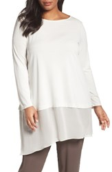 Eileen Fisher Plus Size Women's Stretch Silk Jersey And Crepe Tunic Bone