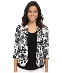Vince Camuto Drape Front Stencil Tropical Blazer Ultra White Women's Jacket