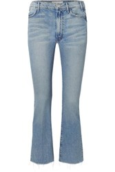 Mother The Hustler Cropped Frayed High Rise Flared Jeans Mid Denim