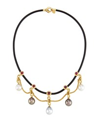 Prince Dimitri For Assael 18K Ruby And Mixed Pearl Rubber Cord Necklace Women's