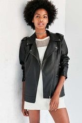 Silence And Noise Off Duty Oversized Vegan Leather Moto Jacket Black