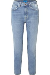 Mih Jeans M.I.H Mimi Cropped Distressed High Rise Slim Leg Light Blue