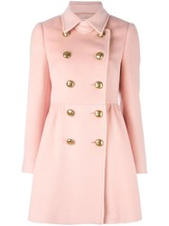Red Valentino Double Breasted Coat Pink Purple