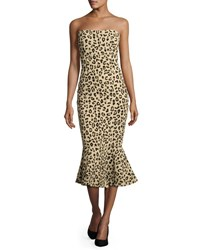 Cinq A Sept Luna Leopard Print Strapless Mermaid Dress Black Tan Black Pattern