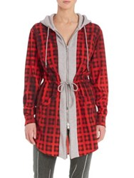 Moschino Check Hooded Zip Up Sweatshirt Jacket Red Grey