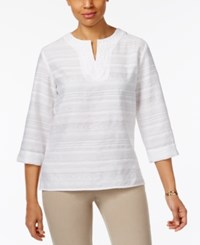 Alfred Dunner Bahama Bays Crochet Trim Striped Tunic White