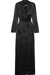 La Perla Floral Vibes Lace Trimmed Silk Blend Satin Robe Black